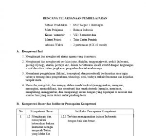 Download RPP Bahasa Indonesia SMP/MTS Kurikulum 2013