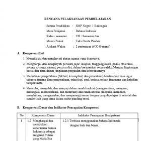 Download RPP Bahasa Indonesia SMP/MTS Kurikulum 2013