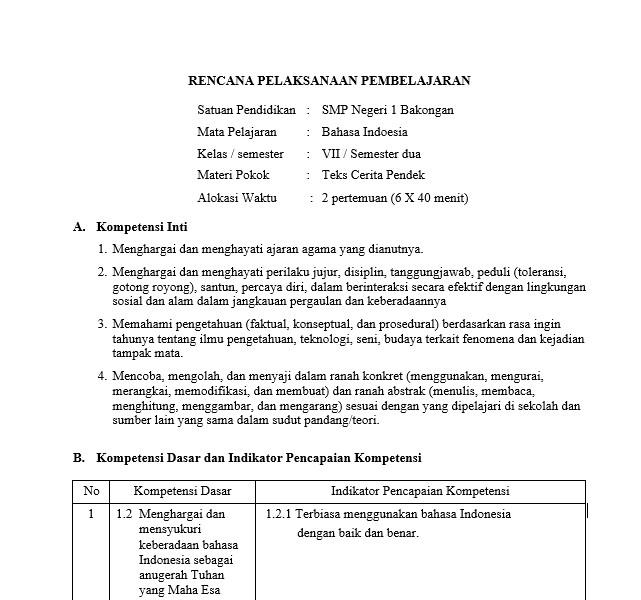 Download Rpp Bahasa Indonesia Smp Mts Kurikulum 2013