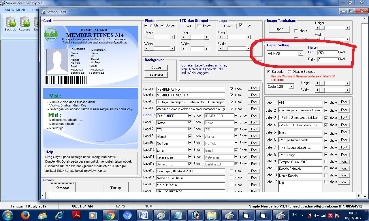 Software Cetak Kartu Siswa lengkap dengan barcode