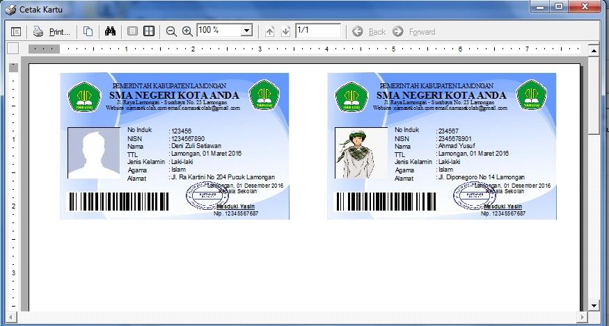 Contoh Barcode Pada Kartu Pelajar